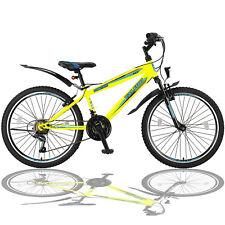 24 Zoll Mountainbike Fahrrad mit Gabelfederung Beleuchtung 21-GANG Gelb