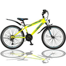 24 Zoll Mountainbike Fahrrad mit Gabelfederung Beleuchtung 21-GANG SHIMANO Gelb