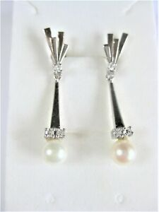 Earrings White Gold 585 with Pearl And Diamonds, 4,72 G