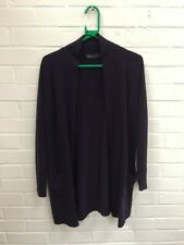 Ladies Marks & Spencer Navy Long Open Front Acrylic Cardigan Size UK 10 #R3-CF