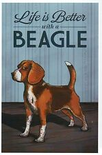 Life is Better with a Beagle, Dog Breed Man's Best Friend Modern Animal Postcard
