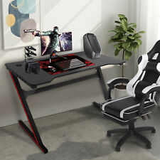 47in Ergonomic Office Computer Gaming Desk Z-Shaped Gamer Table With LED Light