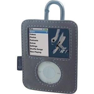 MACALLY BELLA  Leather Case cover w/ carabiner clip Apple 3rd 3gen 3g iPod Nano