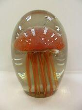 Hand Blown Orange Glass Small Jellyfish - Glows In The Dark -