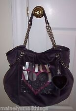 NWT Juicy Couture LOVE PLUMES Velour Chain Tote Bag PURPLE YHRUS155
