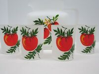 Vintage Frosted Satin Glass Finish Pitcher and 4 Juice Glasses