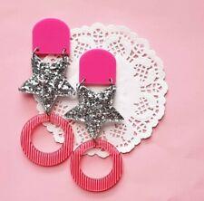 Statement triple dangle resin silver glitter heart acrylic pad and dangle pink