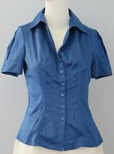 BANANA REPUBLIC Size XS Blue Stretch Button Down Collared Short Sleeve Blouse