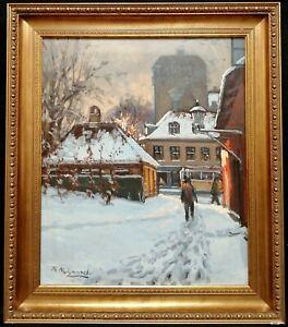 THORVALD NYGAARD (1892-1973) COPENHAGEN IN THE SNOW DANISH WINTER OIL PAINTING