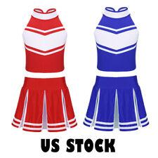 Kids Girls Cheerleader Costume Uniform Cheerleading School Fancy Dress Outfit US