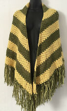 VINTAGE 1970s Yellow Green Hippie Boho Crochet Shawl Wrap with Fringes ONE SIZE