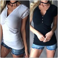 Women's Button Detail Deep V-Neck Lace Ruched Cap Sleeve Stretch Henley Top Tee