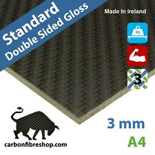 STANDARD Double-Sided Gloss Real Carbon Fibre Sheet 3 mm A4 (210 x 297 mm)