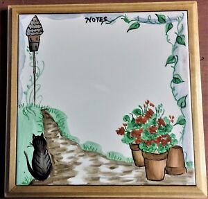 "Combo Trivet & Message Board, Wall & Table, 9"" Sq. Framed Cat & Floral Tile"