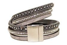Brazalete de diamantes de imitación y cadena de doble arrollamiento-Gris-filamentos 3 con cierre magnético