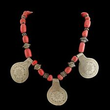 Antique Vintage Deco Sterling 60 Silver Moroccan Red Coral Bead Pendant Necklace