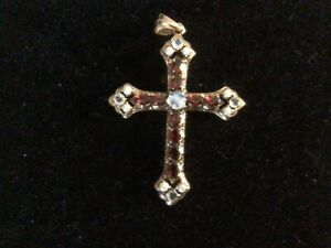Garnet and mini pearl cross pendant