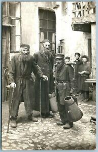 JEWS in JEWISH QUARTER ANTIQUE REAL PHOTO POSTCARD RPPC Judaica