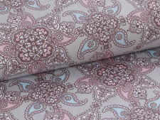 0,5m Cotton Satin Fabric Vintage with Paisley Pattern Narur Gray Pink Ornaments