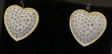 14K 2-tone gold lovely 1.86CTW diamond cluster heart earrings