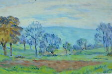 Tableau ancien impressionniste Paysage arboré du pays basque vers 1930