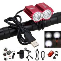 5V USB 12000LM 2X XML T6 LED Universal Cycling Bicycle Bike Lamp Headlight Red