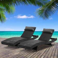 Gardeon Outdoor Wicker Black Sun Lounge - 2 Pack - FF-LOUNGE-WA-BKX2