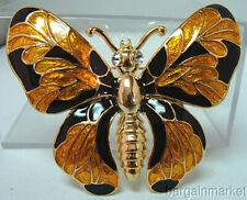 Enamel Butterfly Brooch Big Honey Gold