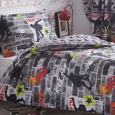 Skateboard Tricks Double Duvet Cover Set Boys Kids Bedding 2 Designs in 1