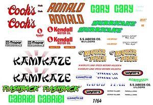 NHRA Drag Car Names Kamikaze - Flashback - Hurricane - Mouse Pack 1/64th Decals
