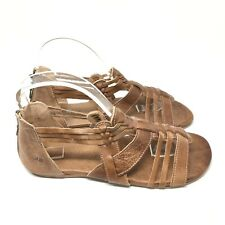 BED-STU Women's Casual Leather Zip Open Toe Caramel Gladiator Sandals Size 8.5