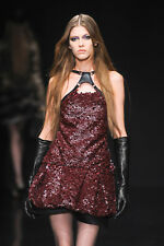 ROBERTO CAVALLI Wine Leather Sequin Harness Open Back Dress 42 4 6