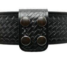 Perfect Fit Double Wide Police Belt Keeper Basketweave Leather Black Snaps USA