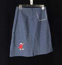 Vintage Bird Embroidered Chambray Blue Skirt By Audra Ltd Carefree Golf Golfing