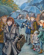 """Peinture originale """"LES PARAPLUIES"""" par Kathryn Edwards-Gallois artiste"""