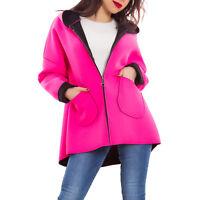 Giacca donna cappotto giaccone linea ad A cappuccio zip casual nuovo AS-0562