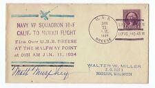 Transocean Rcd #1200, VP-10  Mass Hawaii Flight Signed  USS Breese 1/10-11/34