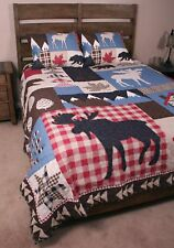 King Quilt Set Wilderness Mountain Retreat Bear Moose Cabin Bedding