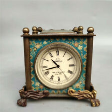 Old China copper Four sides Clock dial Western style mechanical Desk clock
