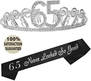 65th Birthday Tiara and Sash, Happy 65th Birthday Party Supplies, 65th Glitter