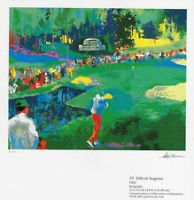 """LEROY NEIMAN BOOK PRINT """"16TH HOLE AT AUGUSTA"""" GOLFER PUTTS AT FAMED GA. COURSE"""