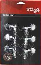 STAGG Chrome Tuning Machine Heads For Electric Or Acoustic Guitars - Set Of 6