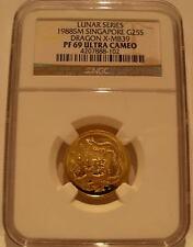 Singapore 1988 Gold 1/4 oz 25 Singold NGC PF-69UC Dragon