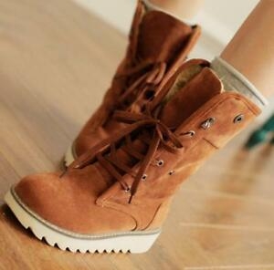 Popular Women Lace up round toe ankle comfort flats winter warm mid calf boots