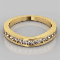 0,72 Cts Runde Princess Cut Natürlich Diamanten Channel Set Ring In 585 14K Gold