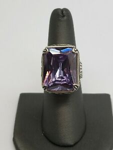 SILPADA STERLING SILVER AND CRYSTAL STONE LAVENDER FIELDS LARGE RING SIZE 8