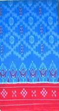 Cotton Saree Handloom Ikat  Saree in Azure Blue and Red with blouse