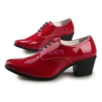 Mens Lace up Cuban Mid Heel Faux Shiny Leather Dress Formal Shoes British Style