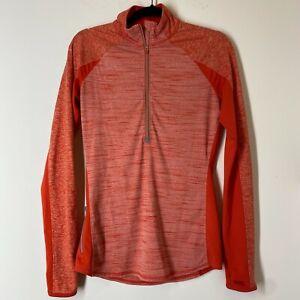 Athleta Women's Size  Small Tall Orange Running Pullover 1/4 Zip