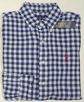 NWT $125 Polo Ralph Lauren Shirt Mens L XL Blue Check Button Down Cotton NEW